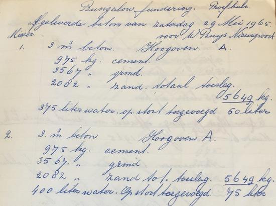 Notitie Jan van Dam: eerste levering 29 mei 1965